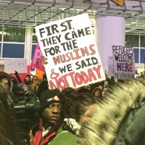 Protests against the travel ban at the John Glenn International Airport in Columbus.